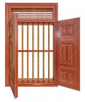 Cửa sổ thép vân gỗ KGS2.CS1-NC