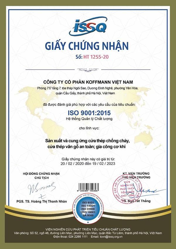 Giấy chứng nhận ISO 9001 2015